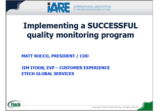 Implementing a successful quality monitoring program