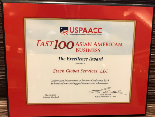 USPAACC Fast 100 Asian American Business Award